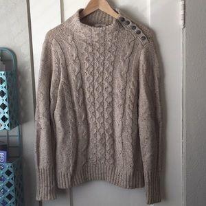 St Johns Bay Fisherman's Sweater Oatmeal Large